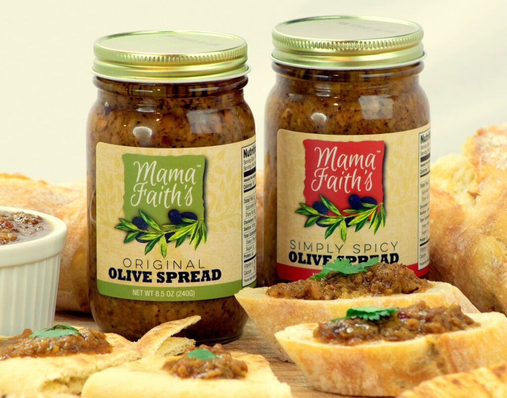 Mama Faith's Original Olive Spread jar and Mama Faith's Simply Spicy Olive Spread jar